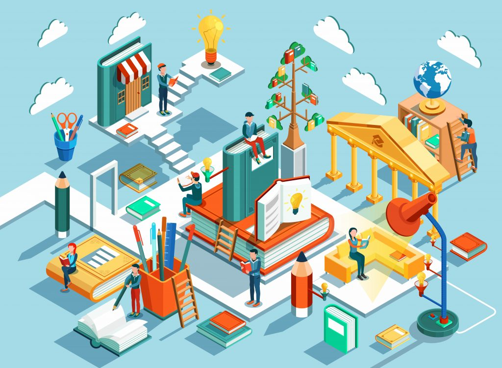 Online education Isometric flat design. The concept of learning and reading books in the library and in the classroom. Illustration